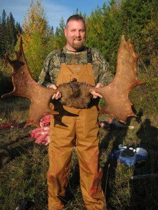 Sean Hines with his second moose and still a meat hunter. Taken during the fall 2010 hunt.